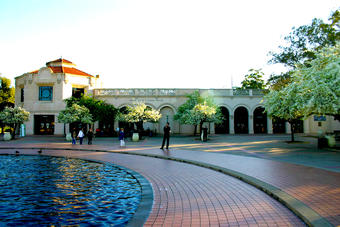 The Fleet Science Center exterior in a beautiful evening in Balboa Park