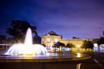 The Fleet Science Center exterior at night with the Bea Evenson Fountain - 1