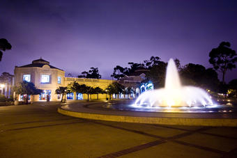 The Fleet Science Center exterior at night with the Bea Evenson Fountain - 2