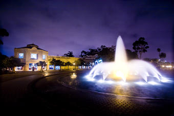The Fleet Science Center exterior at night with the Bea Evenson Fountain - 3