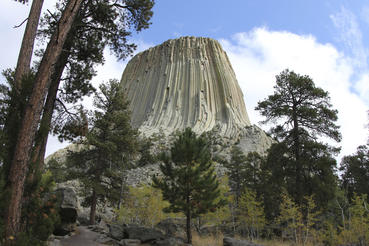 Devils Tower National Monument rises 1,267 feet in the Black Hills of Wyoming. Courtesy of MacGillivray Freeman Films. Photographer: Barbara MacGillivray