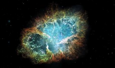 The celestial hues of the Crab Nebula, a supernova remnant in the constellation of Taurus, captured in Hidden Universe.