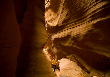 Ariel Tweto marvels at the undulating sandstone formations in Antelope Canyon, near Page, Arizona.
