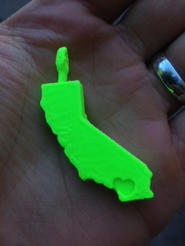 A California keychain printed by our 3D printer