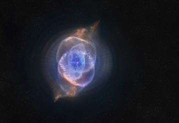 The eerie glow of the Cats Eye Nebula, one of the most structurally complex nebulae known, as seen in Hidden Universe.