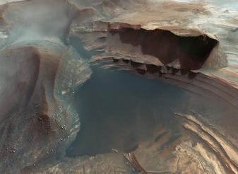 The Earth-like landscape of the Red Planet, recorded by the Mars Orbiter, as seen in Hidden Universe.