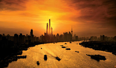 The Shanghai skyline includes the Shanghai Tower, where 16,000 people live, work and play. The skyscraper is the world's second tallest building, and its innovative design is featured in Dream Big.