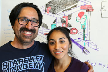 Fredi Lajvardi, head of the Robotics Team at Carl Hayden High School in Phoenix, Arizona, with Angelica Hernandez, whose robotics team unexpectedly beat MIT during an underwater robot competition.