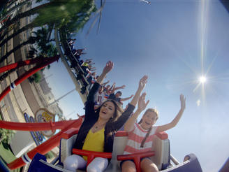 Engineer Menzer Pehlivan and a group of children enjoy a ride on a roller coaster; a feat of engineering that brings fun and thrills to people everywhere