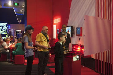 Classic Nintendo console games such as the Legend of Zelda, the Legend of Zelda: Skyward Sword, Mario Kart 7 and Super Mario 3D Land are featured in the Game Changers section of Game Masters. Photo courtesy of ACMI (Australian Centre for the Moving Image).
