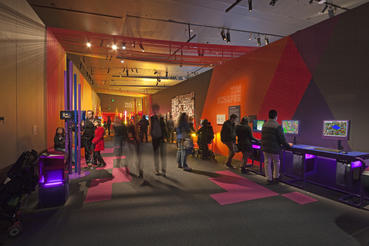 In addition to 100+ playable games, Game Masters also explores the artwork, design and people behind our favorite video games. Photo courtesy of ACMI (Australian Centre for the Moving Image).