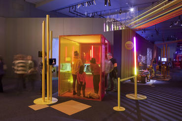 Experiential music booths help you let loose in games like SingStar in the Game Changers section of Game Masters. Photo courtesy of ACMI (Australian Centre for the Moving Image).