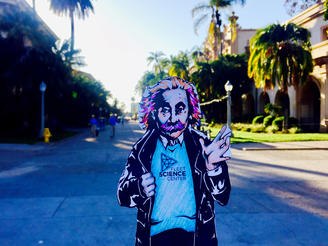 Flat Albert takes a stroll down the prado in Balboa Park.