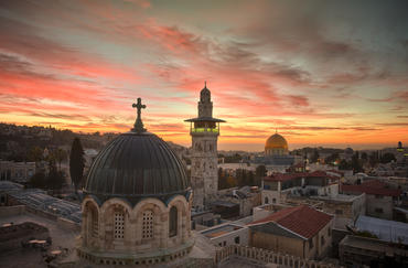 A pre-dawn view from the rooftop of the Sisters of Zion Convent off the Via Dolorosa.
