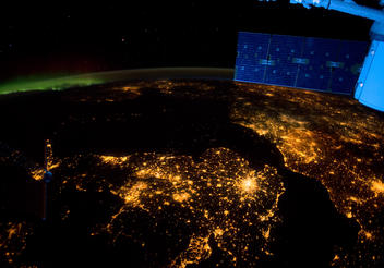 A breathtaking night shot from the International Space Station. Illuminated are the cities of London, Paris, Amsterdam as seen in the new IMAX® film, A Beautiful Planet. Narrated by Jennifer Lawrence and from IMAX Entertainment and director Toni Myers, A Beautiful Planet is a stunning glimpse of Earth from space, bringing a heightened awareness of our planet—and the effects of humanity over time—as never seen before. © 2016 IMAX Corporation. Photo courtesy of NASA.