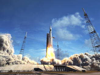 – CGI depicts Orion, atop the Space Launch System, blasting off from Cape Canaveral, FL.