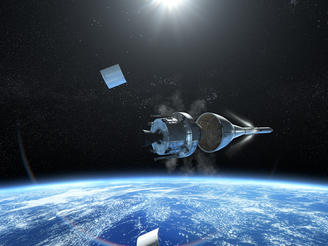 CGI depicts Orion above Earth, shortly after liftoff.