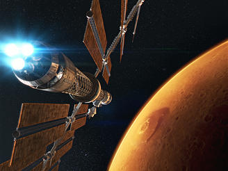 CGI depicts a spacecraft transporting humans to the Red Planet.