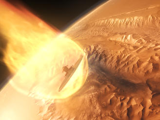 CGI depicts a lander craft making its way through the Martian atmosphere, visualizing what it will take for humans to one day walk on the Red Planet.