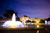 The Reuben H. Fleet Science Center exterior at night with the Bea Evenson Fountain - 1