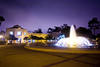The Reuben H. Fleet Science Center exterior at night with the Bea Evenson Fountain - 2